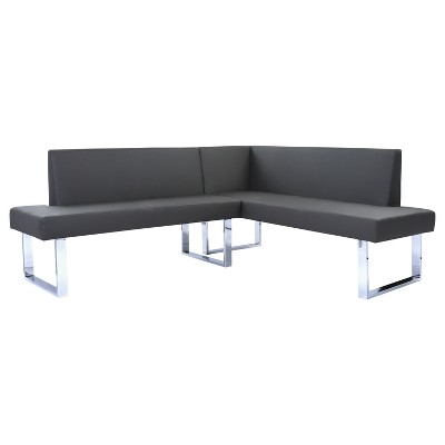 Beau Amanda Contemporary Nook Corner Dining Bench In Gray Faux Leather And  Chrome Finish   Armen Living