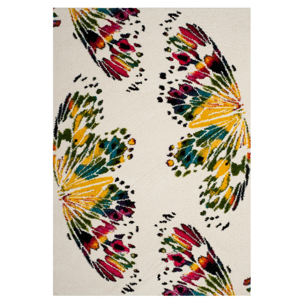 Cream Butterfly Loomed Area Rug 5'1