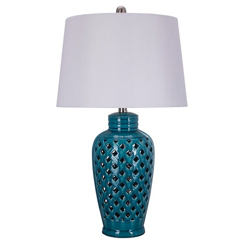 "Ceramic Table Lamp with Lattice Design - Blue (26"") - image 1 of 3"