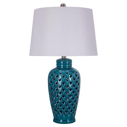 """Ceramic Table Lamp with Lattice Design - Blue (26"""") - image 1 of 3"""