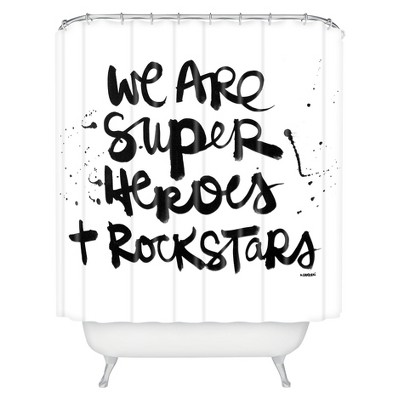 Superheroes Shower Curtain White/Black - Deny Designs