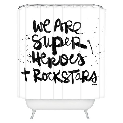 Superheroes Shower Curtain White/Black - Deny Designs - image 1 of 4