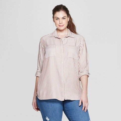 4e58c9c5ef5 Women s Plus Size Striped Long Sleeve Collared Button-Down Shirt - Ava   Viv™  Brown