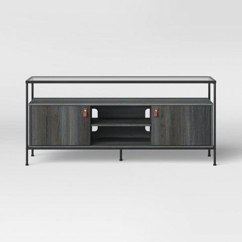 Fulham Glass Top Media Stand with Storage Black - Project 62™ - image 1 of 3