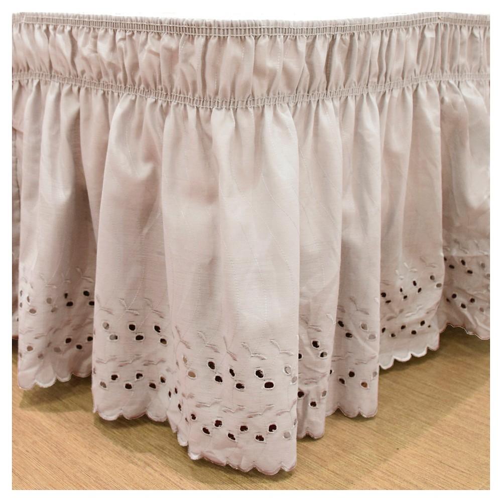 Tan Wrap Around Eyelet Ruffled Bed Skirt (Queen/King) (80