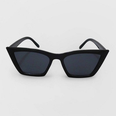Women's Cateye Plastic Silhouette Sunglasses - Wild Fable™ Black