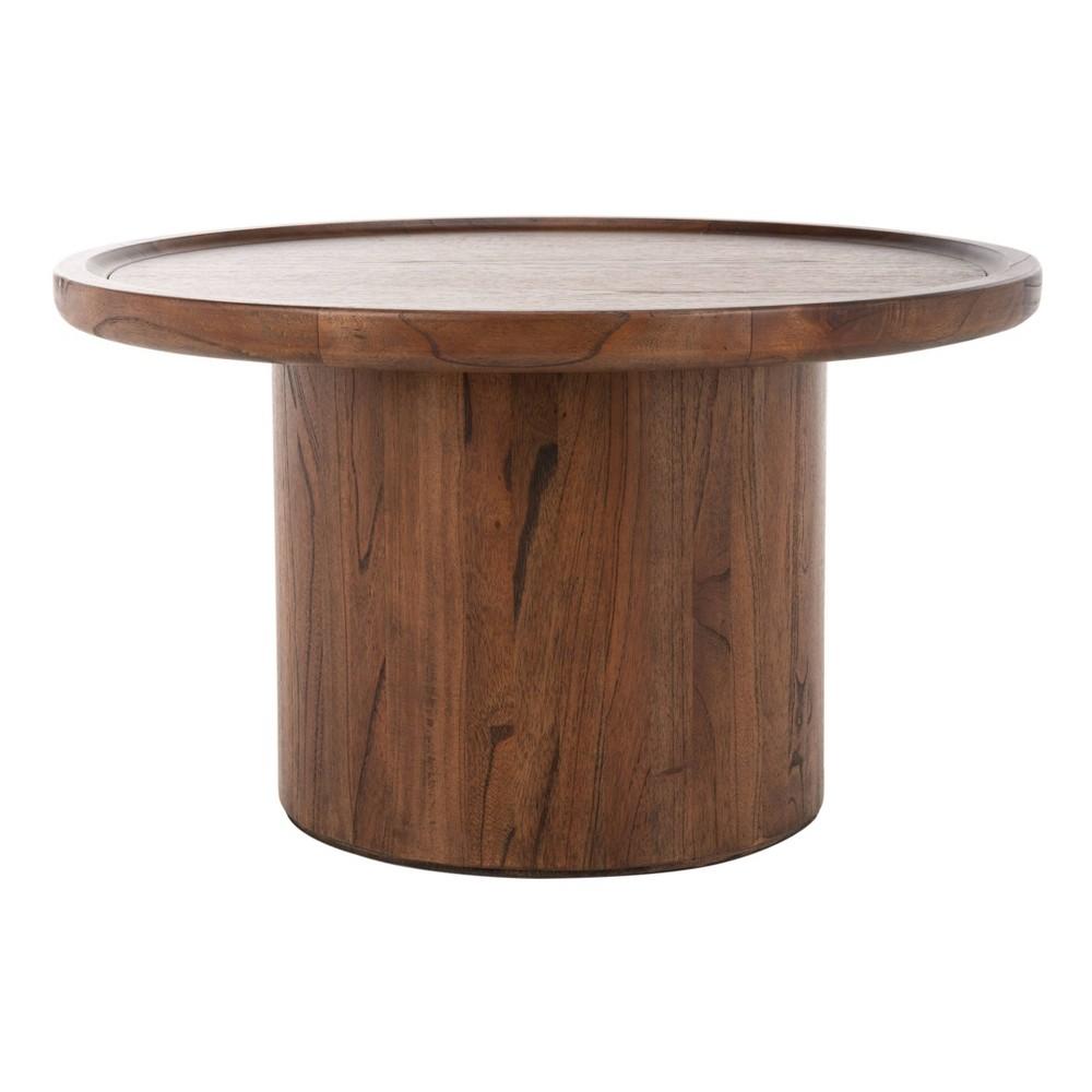 Devin Round Pedestal Coffee Table Dark Brown - Safavieh