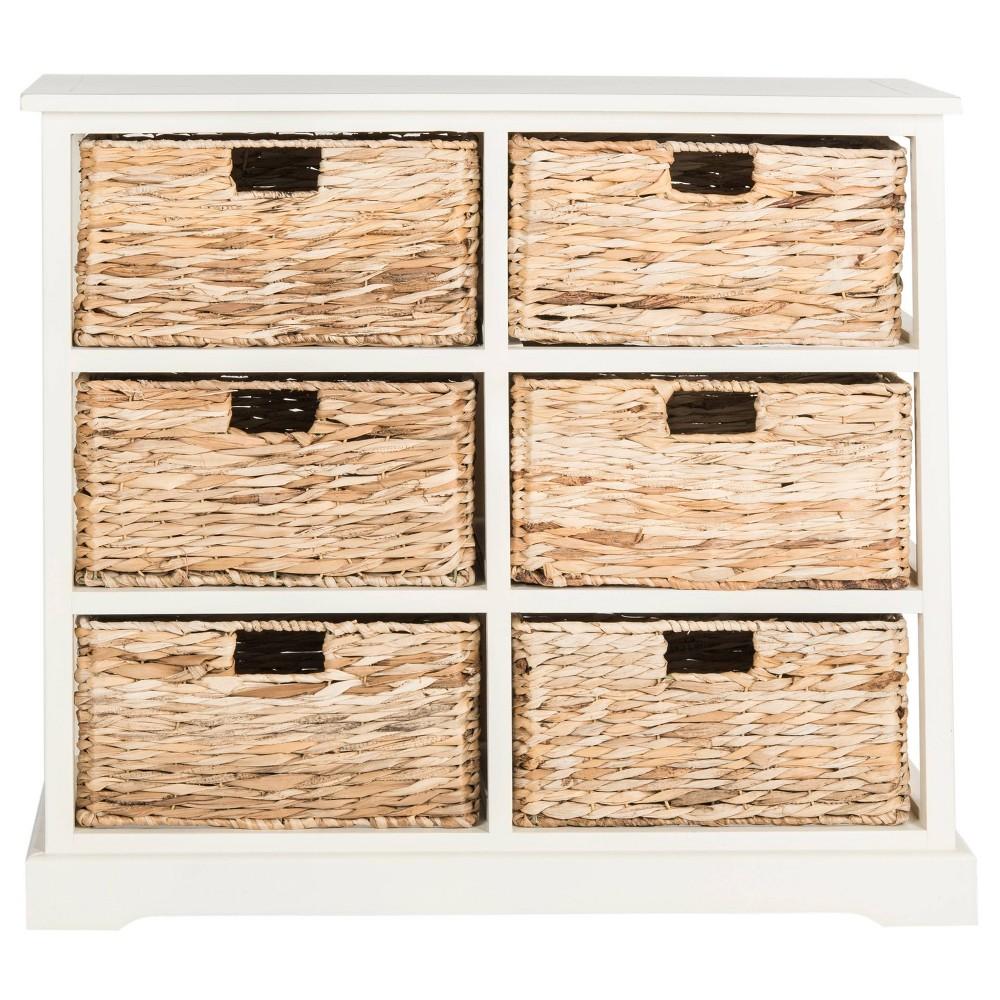 Keenan Storage Chest With Wicker Baskets Distressed White Safavieh