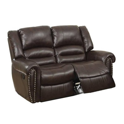 Highly Modish Bonded Leather and Plywood Reclining Loveseat Brown - Benzara