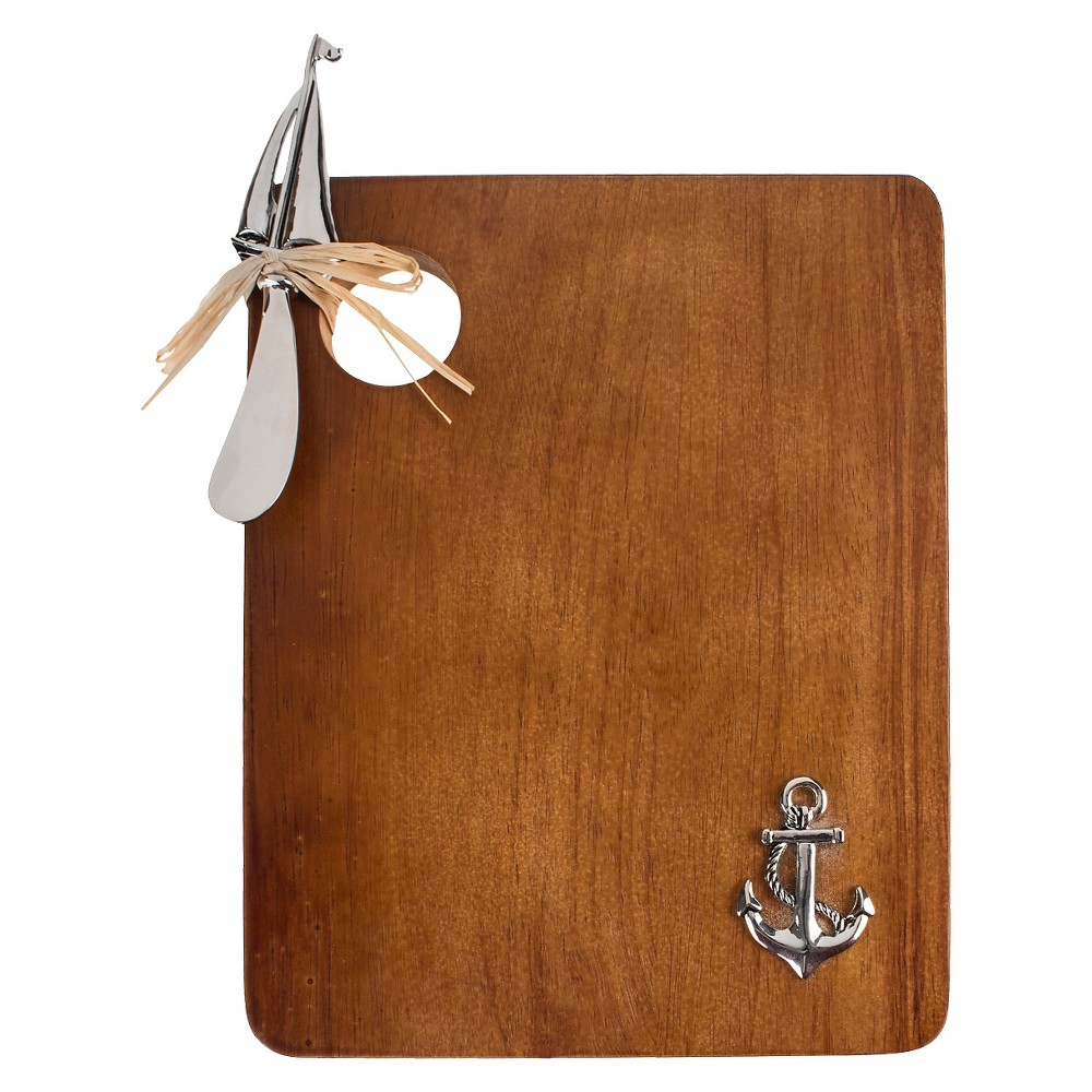Thirstystone Anchor Serving Board with Sailboat Spreader, Brown