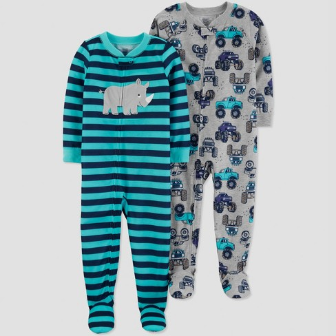 Baby Boys' Stripe Rhino Pajama Set - Just One You® made by carter's Blue - image 1 of 1