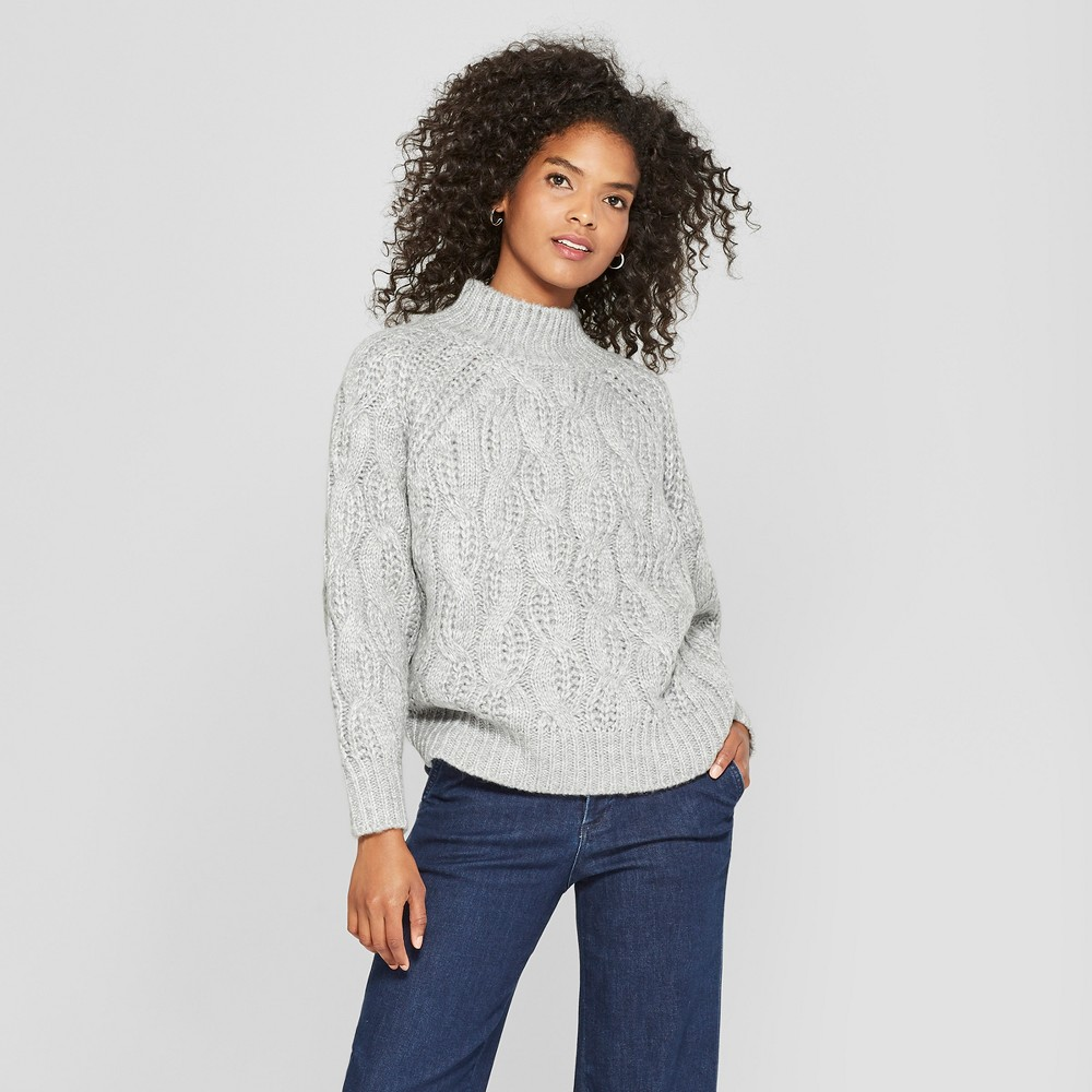 Women's Long Sleeve Turtleneck Cable Knit Sweater - Cliche Gray L