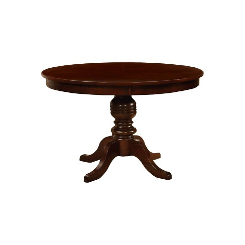 Round Table Top With Pedestal Dining Table Wood Brown Cherry Furniture Of America Target