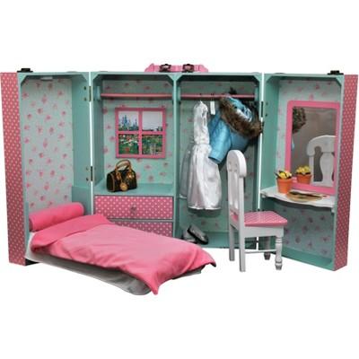 Genial The Queenu0027s Treasures® 18 Inch Doll Storage Bedroom Trunk With Bed, Vanity,  Mirror, Bedding, Chair, Hangers