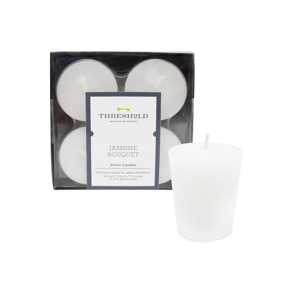 2 4pk Votive Candle Set Jasmine Bouquet - Threshold, White