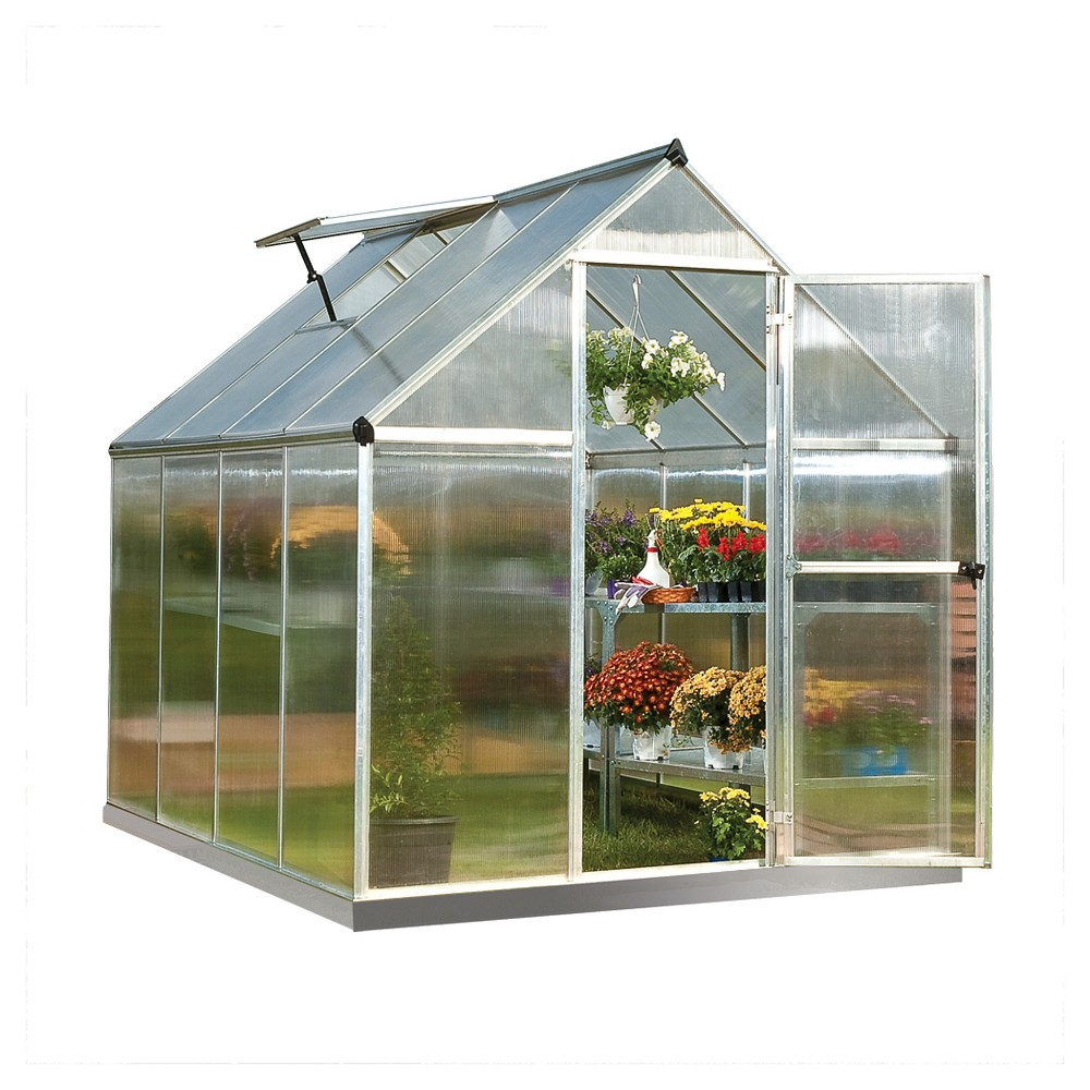 Image of 6' x 8' x 7' Nature Greenhouse - Silver - Palram