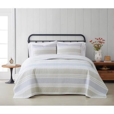 Cottage Classics Spa Stripe Quilt Set