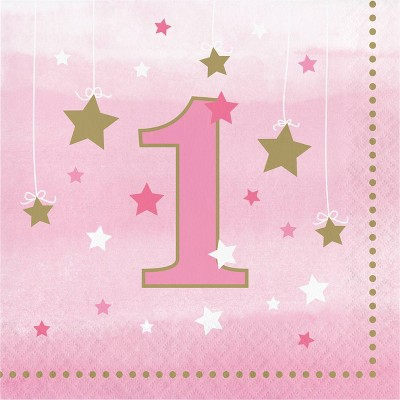 48ct One Little Star Girl 1st Birthday Napkins Pink