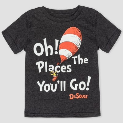 Toddler Boys' Dr. Seuss 'Oh! The Places You'll Go!' Short Sleeve T-Shirt - Charcoal 18M