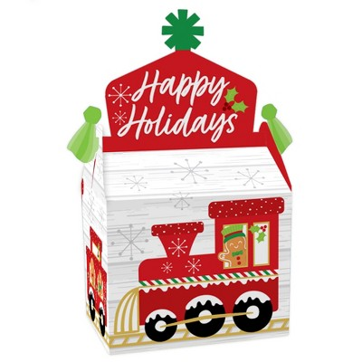 Big Dot of Happiness Christmas Train - Treat Box Party Favors - Holiday Party Goodie Gable Boxes - Set of 12
