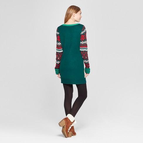 68c59e5ee1c Women s Christmas Giraffe Ugly Sweater - 33 Degrees (Juniors ) Green M    Target