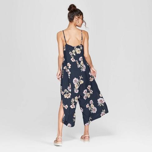 b9ea52ef8d36 Women s Floral Print Strappy V-Neck Waistless Cropped Jumpsuit - Xhilaration™  Navy   Target