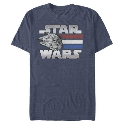 Men's Star Wars Millennium Falcon Patriotic Stripes T-Shirt