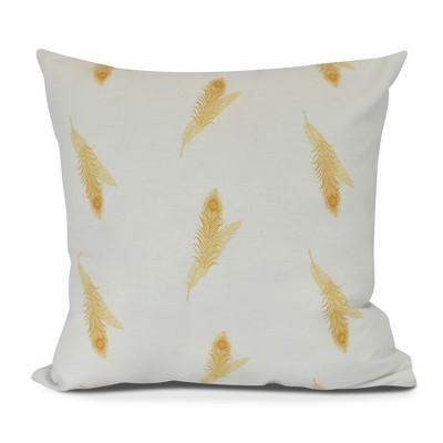 Gold/White Stripe Floral Print Pillow Throw Pillow (16 x16 )- E by Design