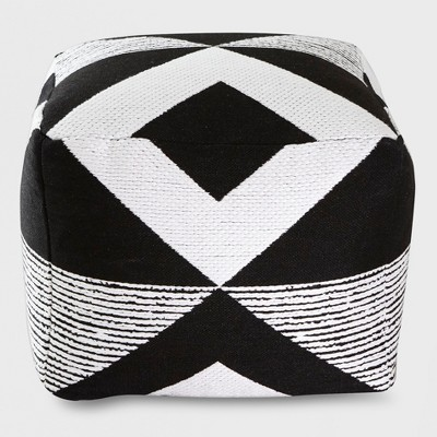 Geo Woven Outdoor Pouf Black - Project 62™