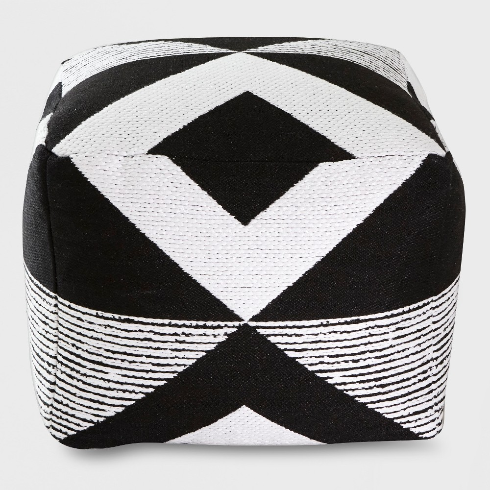 Geo Woven Outdoor Pouf Black - Project 62