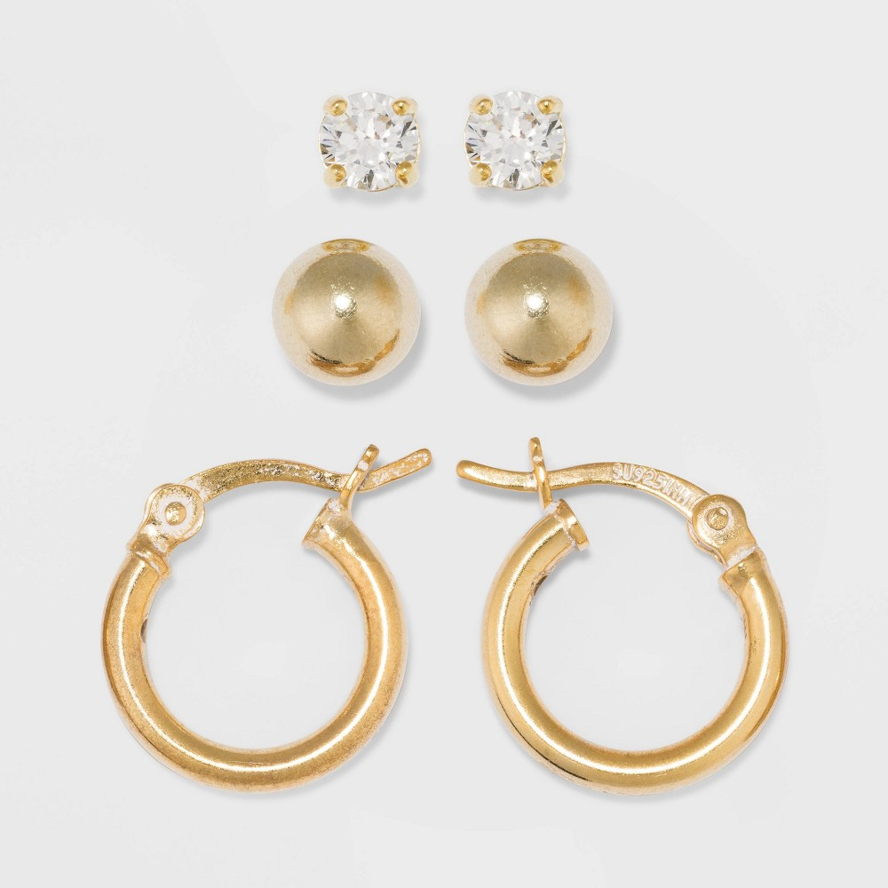 Gold Over Sterling Silver Cubic Zirconia & Ball & Hoop Set Fine Jewelry Earrings - A New Day Gold/Clear