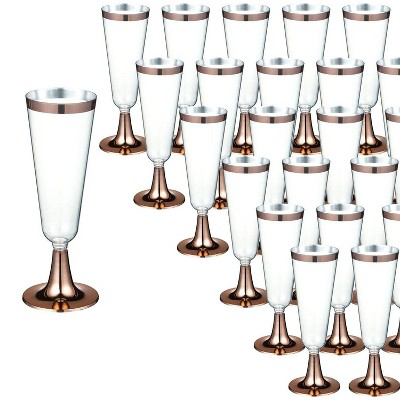 Juvale 50 Pack 5oz Plastic Champagne Flutes Glasses For Toasting Party Celebration Gift Rose Gold Target