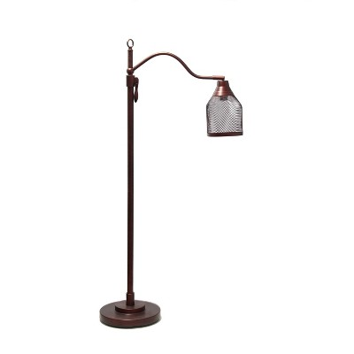 Vintage Arched Floor Lamp with Iron Mesh Shade Red - Lalia Home