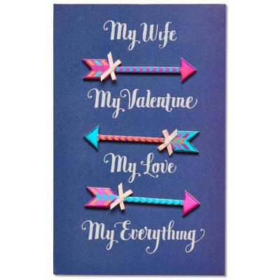 Arrow Print Valentine's Day Card for Wife with Glitter