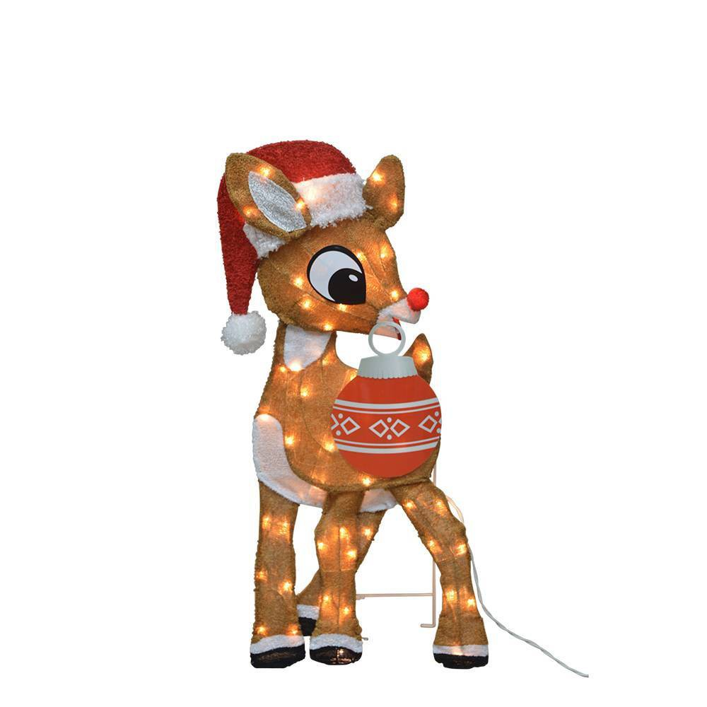 "Image of ""32"""" Rudolph the Red-Nosed Reindeer LED Pre-Lit Rudolph with Ornament 2D Outdoor Decoration"""