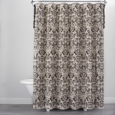 Allover Floral Print Shower Curtain Black/White - Opalhouse™