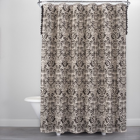 Allover Floral Print Shower Curtain Black/White - Opalhouse™ - image 1 of 3
