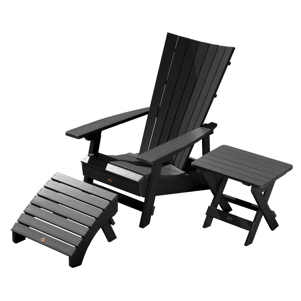 Manhattan Beach Adirondack Chair with Folding Adirondack Side Table & Ottoman Black - Highwood