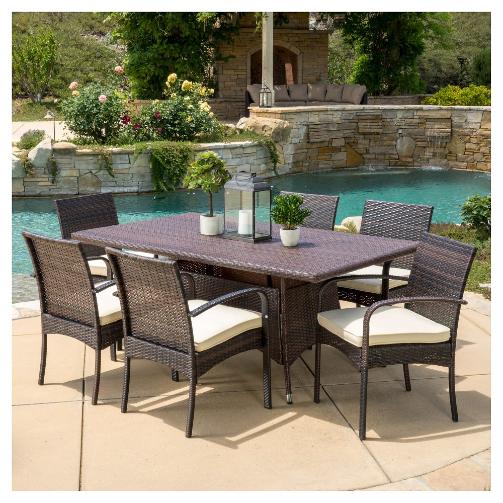 Rudolph 7pc Wicker Patio Dining Set with Cushions - Brown - Christopher Knight Home