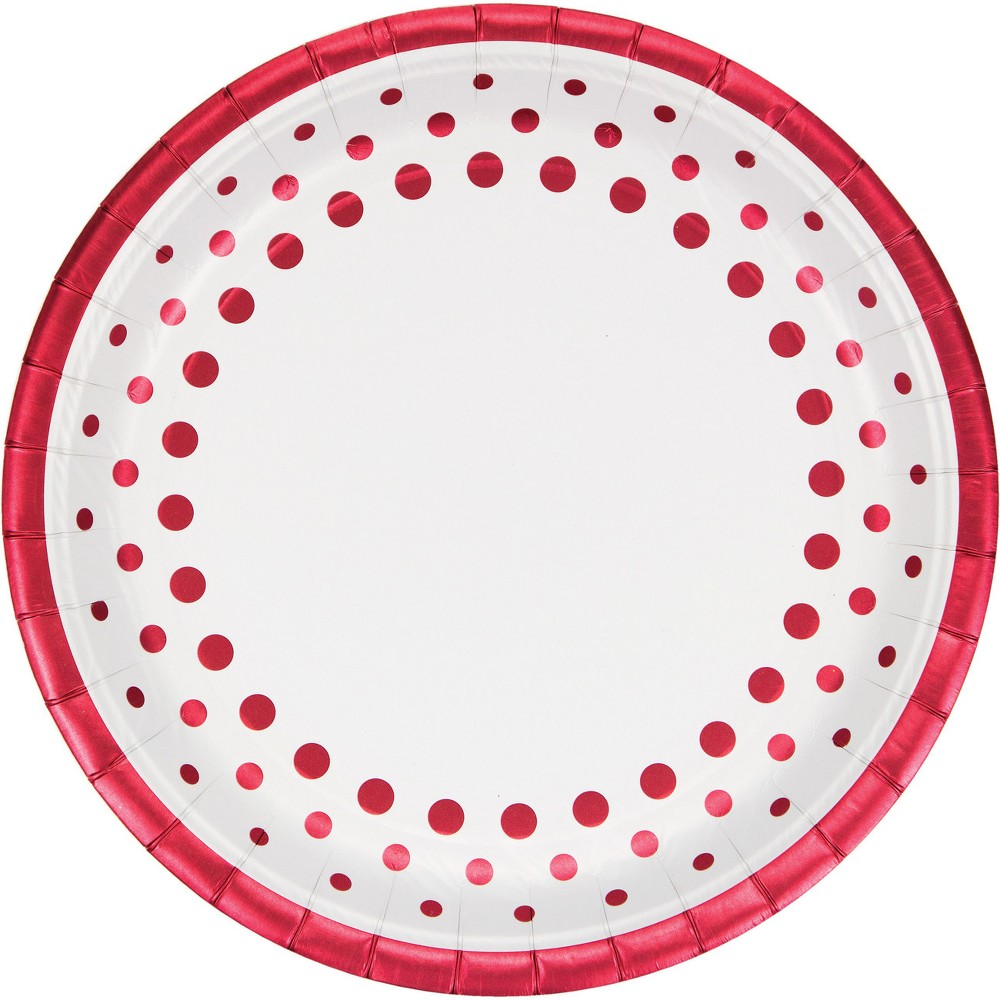 24ct Sparkle and Shine Ruby Foil Paper Plates Red