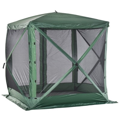 Outsunny 7'x7' Pop Up Camping Gazebo Canopy Shelter Screen Tent with Ventilating Mesh, Portable Carry Bag for Outdoor Party Event