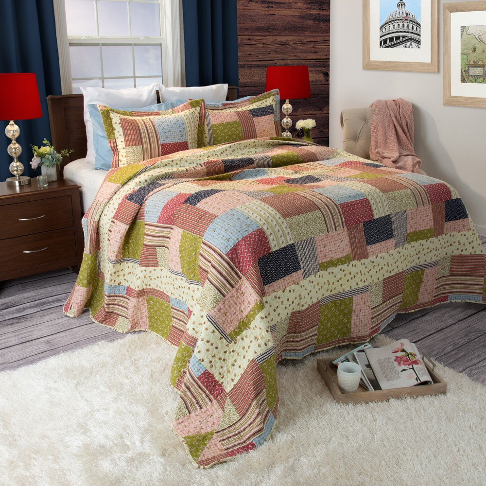 Savannah Quilt 3 Piece Set (Full/Queen) - Yorkshire Home, Multicolored