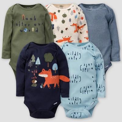 Gerber Baby Boys' 5pk Fox Long Sleeve Onesies - Green/Off-White/Blue Newborn