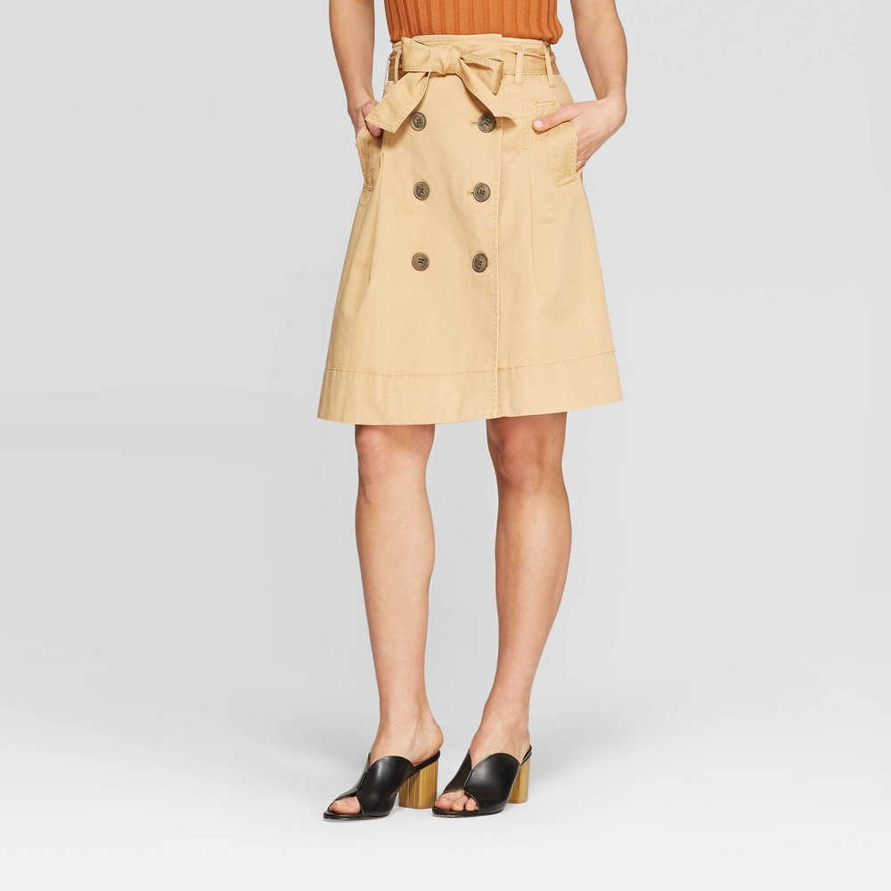 Women's Button Front Belted Trench Skirt - Who What Wear Taupe 6, Gray