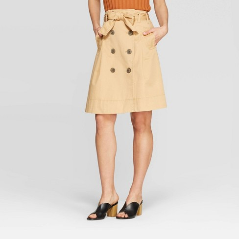 Women's Button Front Belted Trench Skirt - Who What Wear™ Taupe - image 1 of 3