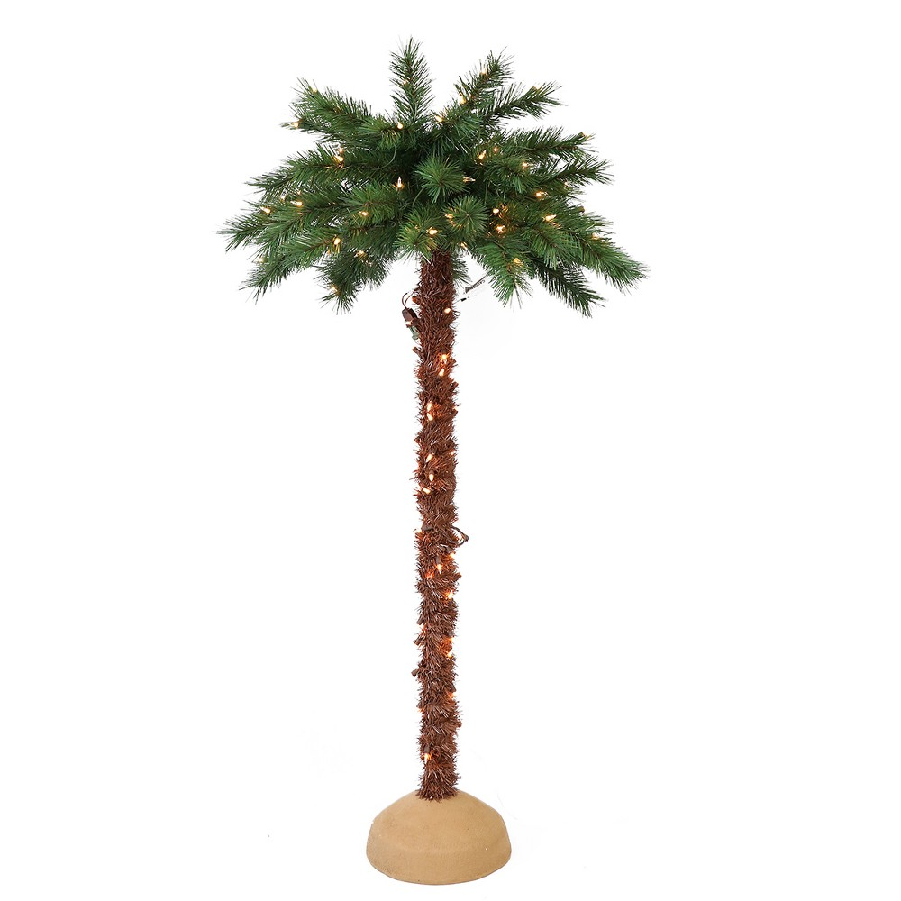 Image of 4ft Pre-lit Palm Artificial Christmas Tree - Puleo
