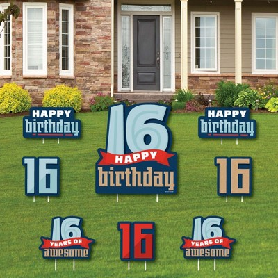 Big Dot of Happiness Boy 16th Birthday - Yard Sign and Outdoor Lawn Decorations - Sweet Sixteen Birthday Party Yard Signs - Set of 8