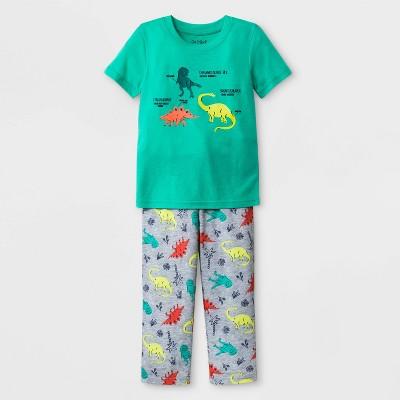 Baby Boys' Dino Printed Jersey and Bottom Pajama Set - Cat & Jack™ Tropic Green 18M