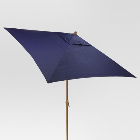 6.5' Square Umbrella - Navy - Medium Wood Finish - Threshold™ - image 1 of 1