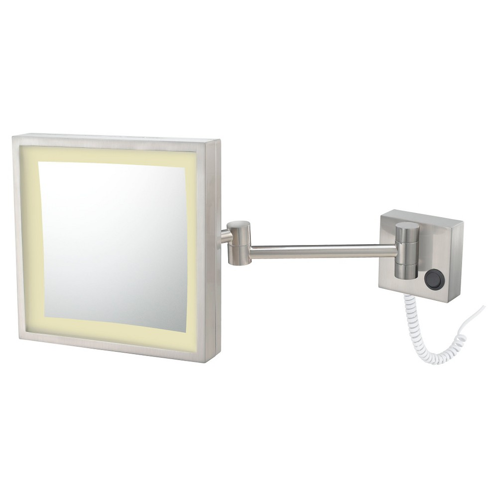 Square Single-Sided Led Lighted Wall Magnified Makeup Bathroom Mirror Brushed Nickel - Aptations, Grey